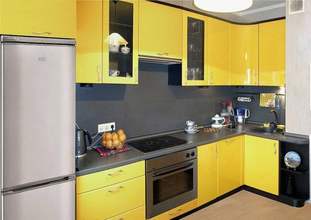 Кухня угловая желтая с подсветкой