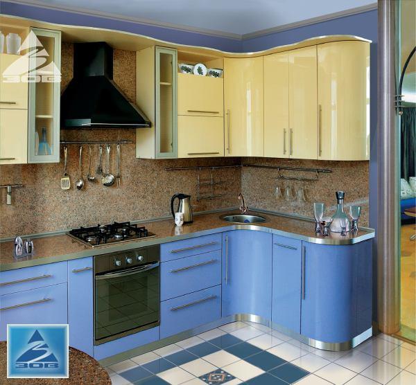 Кухня угловая желто-синяя