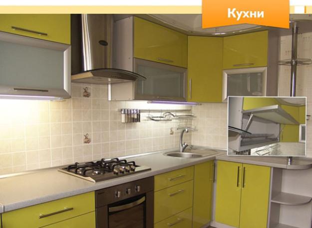 Кухня угловая желто-зеленая