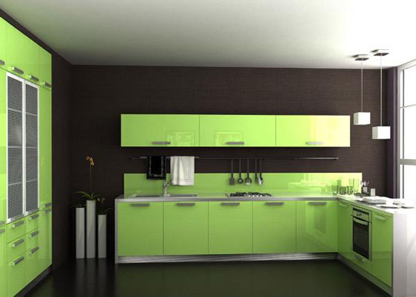 Кухня в цвете салатовый глянец