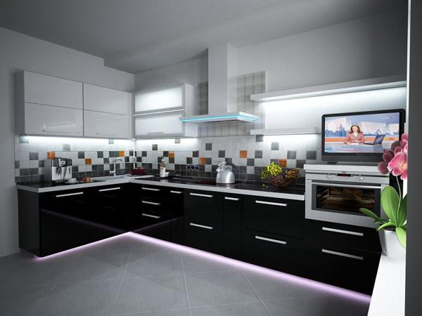 Кухня в современном стиле черно-белая