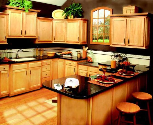 Кухня в стиле кантри с черной столешницей