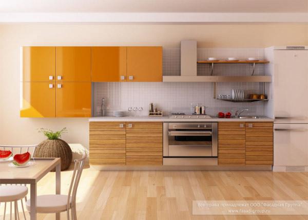 Кухня яркая с глянцевым фасадом