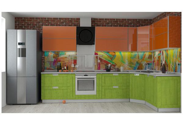 Кухня яркая современная со скинали