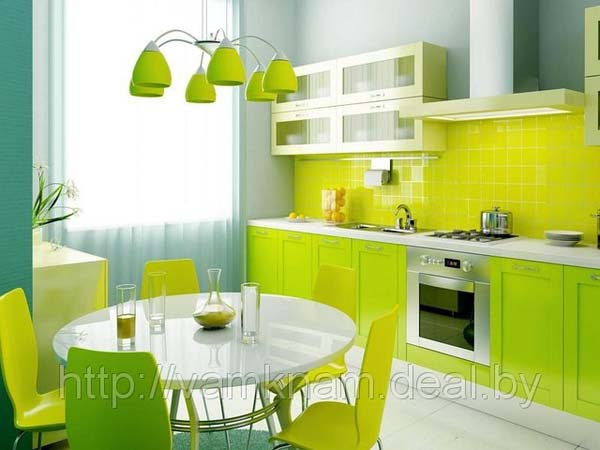 Кухня яркого лимонного цвета