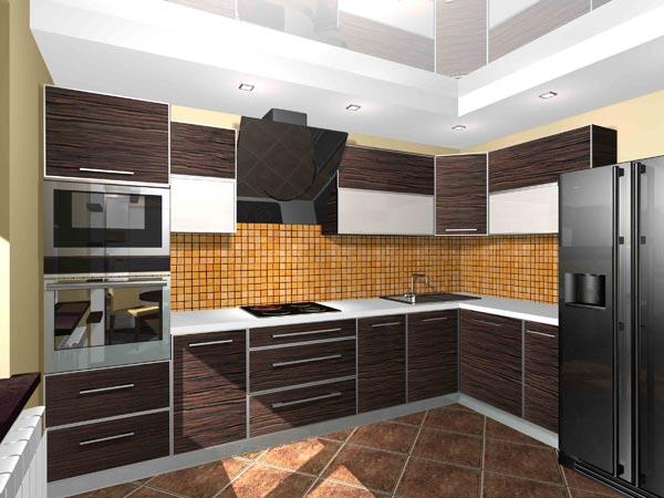 Кухня зебрано угловая