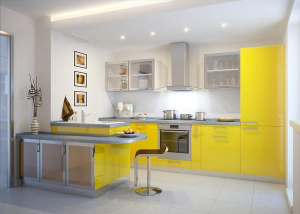 Кухня желтая яркая