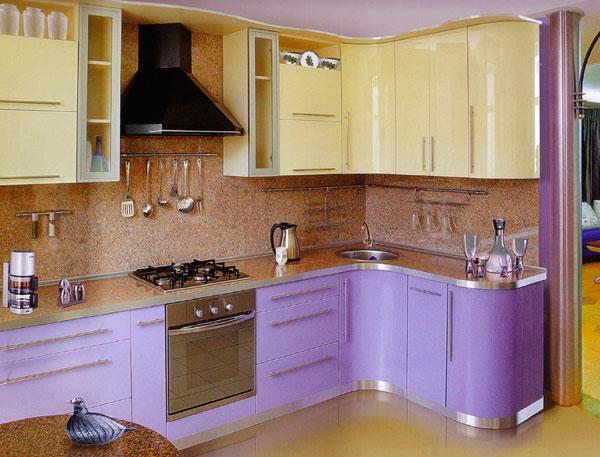 Кухня желто-фиолетовая
