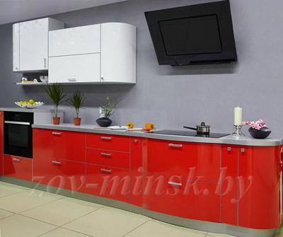 Кухня ЗОВ №11 «Лотос белый-Красный»