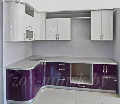 Кухня ЗОВ №13 «Белый лотос-Баклажан»