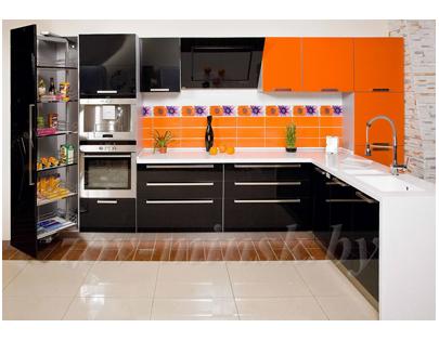 Кухня ЗОВ №28 «Оранж-Черный»
