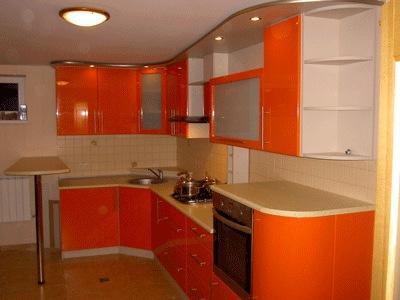 Кухонный гарнитур угловой оранжевый
