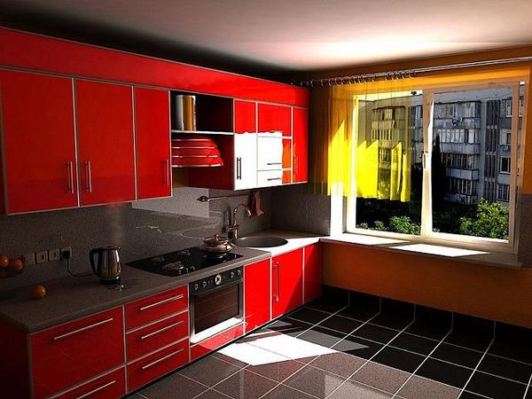 Линейная красная кухня