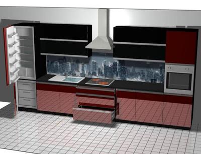 Линейная кухня с зеркальными фасадами
