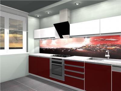 Линейная кухня со встроенной подсветкой