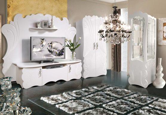 Мебель для гостиной белая с резными фасадами КМК-Мебель «Невеста»