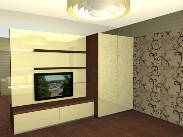 Мебель в гостиную на зеркальной стене