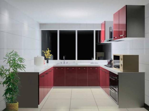 П-образная кухня с бордовым фасадом