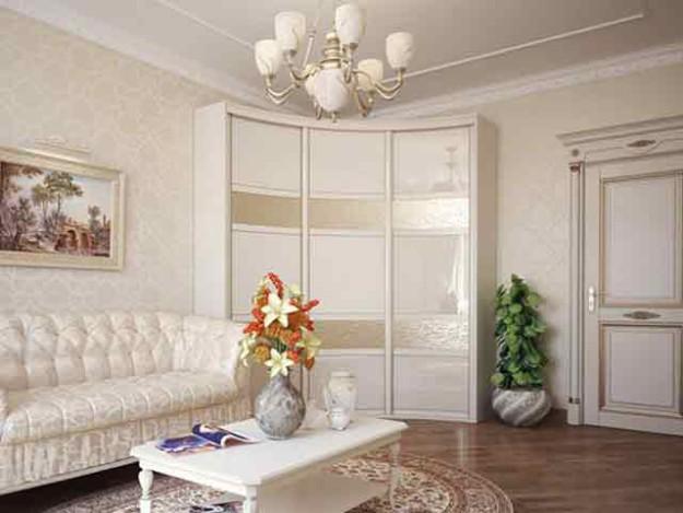 Радиусный белый шкаф-купе небольшой