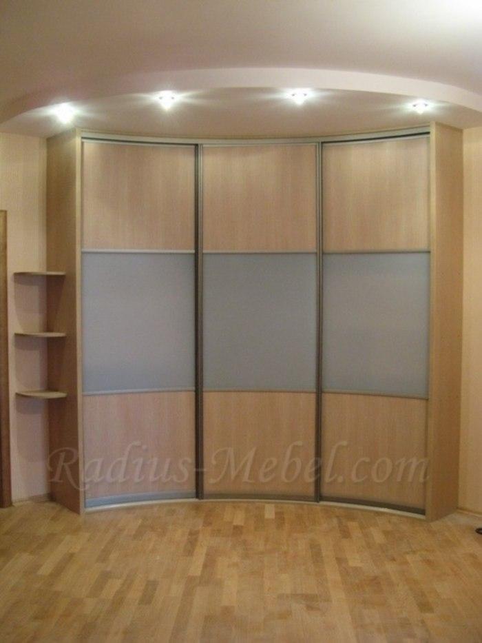 Радиусный шкаф вогнутый светлый - купить радиусные шкафы-куп.