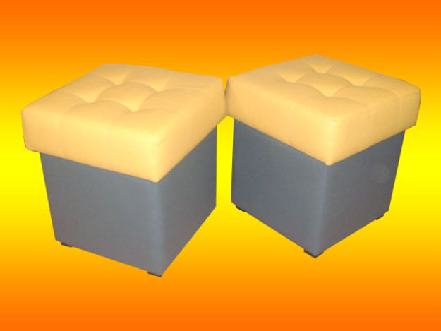 Серо-желтая квадратная банкетка
