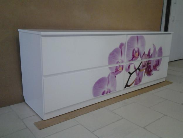 Широкий комод с фотопечатью «Орхидея»