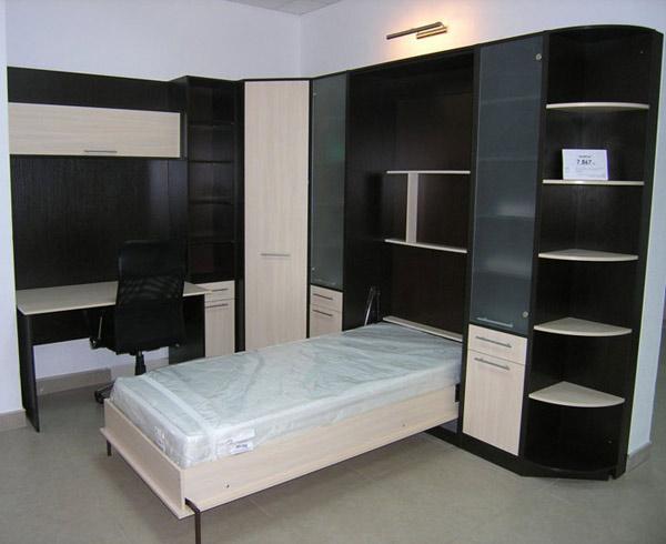 Шкаф-кровать с боковыми ящиками и полками