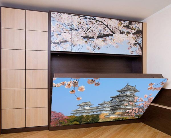 Шкаф-кровать с фотоизображением