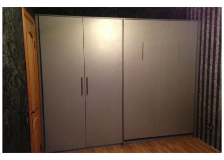 Шкаф-кровать серебристая