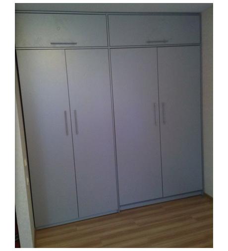 Шкаф-кровать серебристая с антресолью