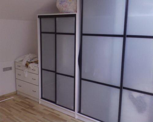 Шкаф-купе двухдверный с фасадом из лакобеля
