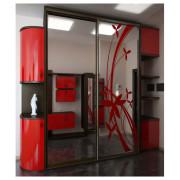 Шкаф-купе линейный красный