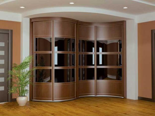 Шкаф-купе радиусный коричневый с зеркальными вставками