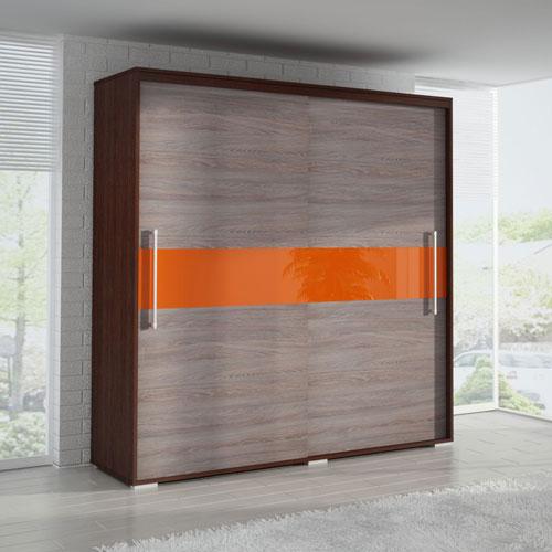 Шкаф-купе с оранжевой вставкой