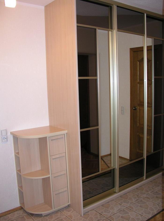 Шкаф-купе с зеркальной вставкой - купить линейные шкафы-купе.