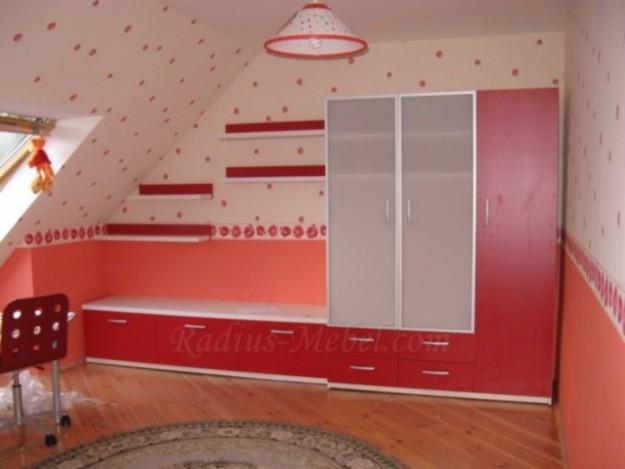 Шкаф комбинированный красный