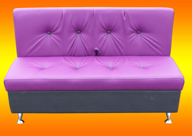 Сиренево-серый диван для кухни без подлокотников
