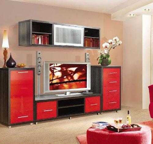 Стенка в гостиную ярко-красная