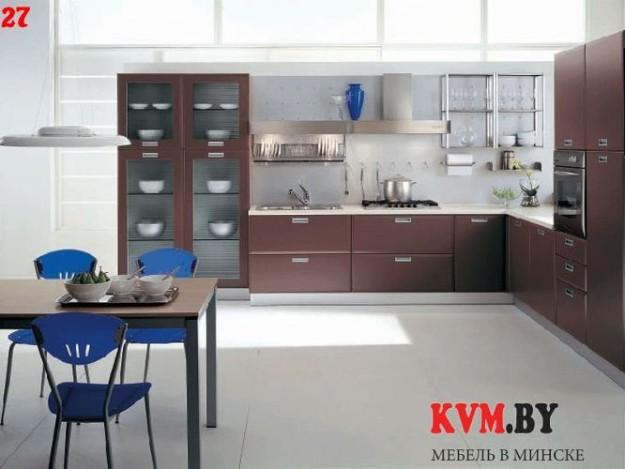 Стильная коричневая угловая кухня