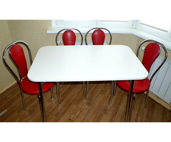 Стол белый со скошенными углами