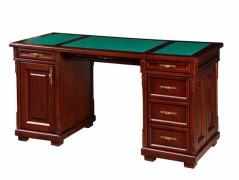 Стол для руководителя с зеленой кожаной столешницей