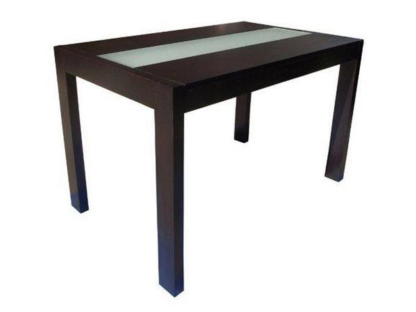 Стол обеденный с широкой вставкой матового стекла