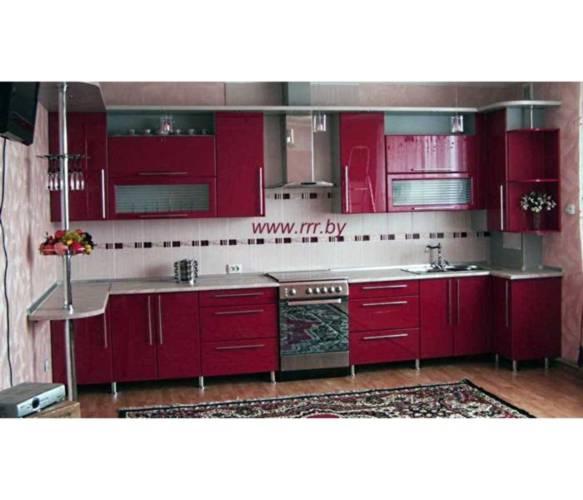 Угловая бордовая кухня