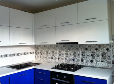 Угловая кухня «Белый с синим»