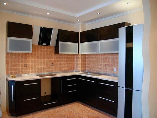 Угловая кухня черная матовая