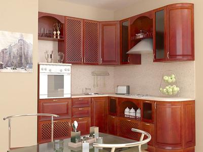 Угловая кухня из массива с декором