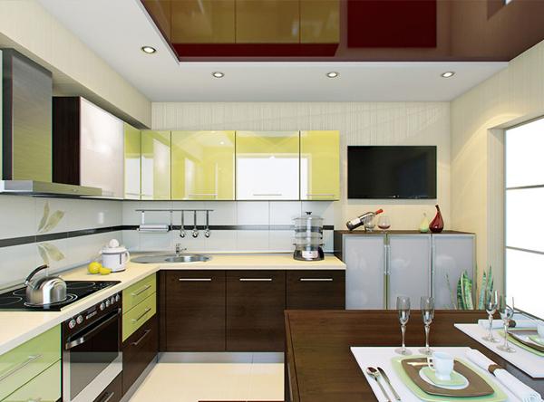 Угловая кухня лимонно-коричневая