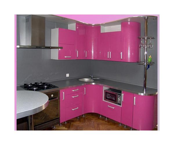 Угловая кухня розовая К-20
