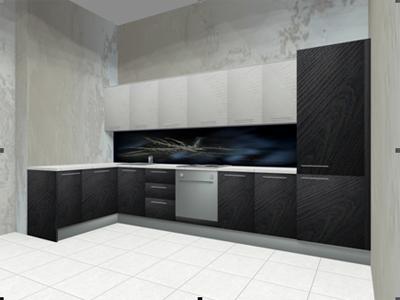 Угловая кухня с черно-белыми фасадами