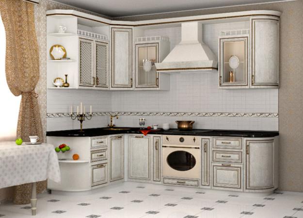 Угловая кухня с эффектом искусственного старения